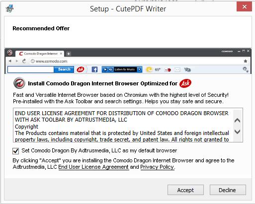 Agora a sugestão de instalação é de um tal Comodo Browser, um navegado mais compatível com o ask toolbar.